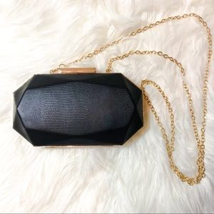 INC Black Minaudiere Crossbody Evening Bag